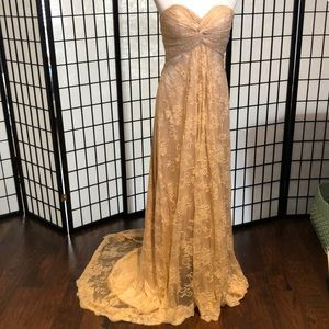 Formal gown/ wedding gown/ light pink tan color